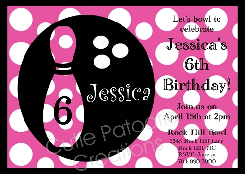 Pink Polka Dot Bowling Birthday Invitations