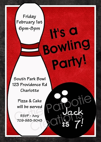 Red Bowling Birthday Party Invitation for Boys