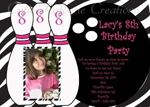 Zebra Print Bowling Birthday Invitations