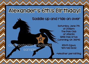 Stallion Horse Birthday Invitations for Boys or Girls