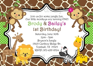 Jungle Birthday Party Invitations - Boy Girl Twins