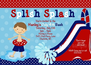 July 4th Pool Party Birthday Invitations for Boys