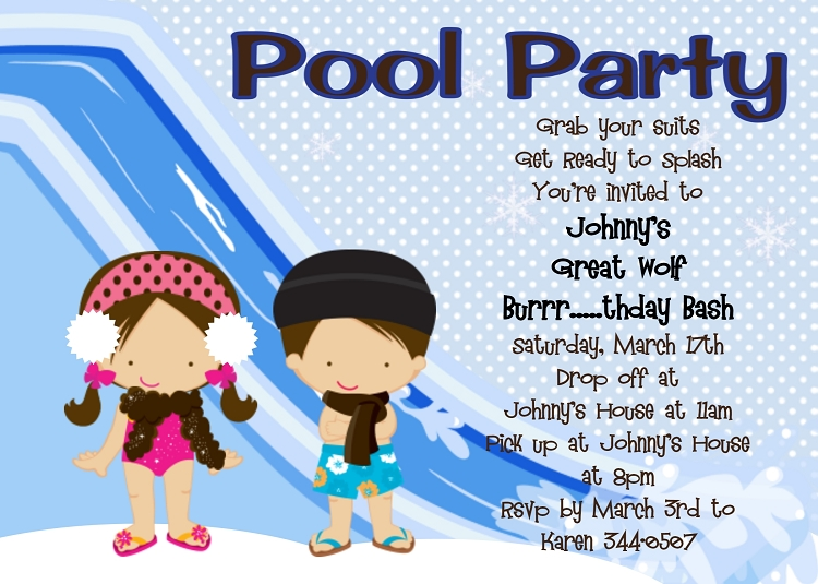 twins or siblings winter pool party invitations