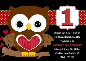 Valentine's Day Birthday Invitations for Boys - Printable or Printed