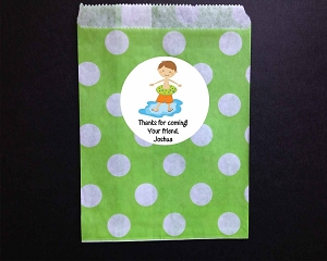 Boy Pool Party Favor Bags and Personalized Stickers