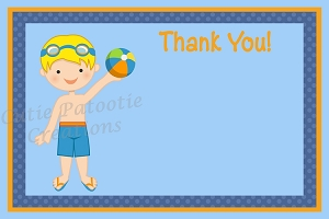 Boy Pool Party Thank You Card