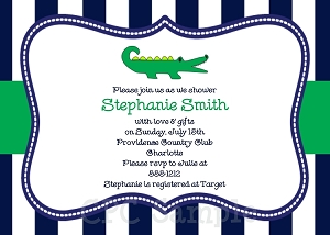 Preppy Alligator Baby Shower Invitations