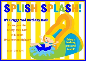 Water Park Birthday Invitation for Boys