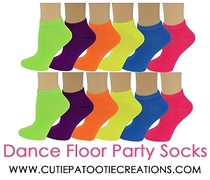 Dance Floor Party Socks for Bar and Bat Mitzvahs - Colorful Neon