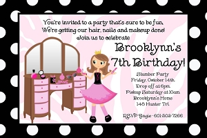 Glamour Girl Birthday Party Invitations - Printable or Printed
