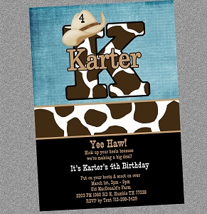 Cowboy Cowgirl Cow Print Birthday Invitation