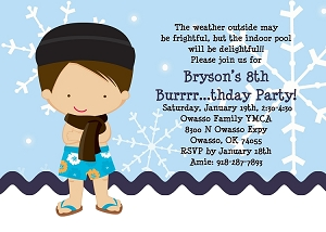 Winter Pool Party Invitations for Boys - Printable or Printed