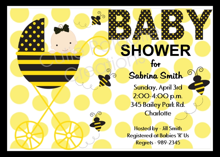 Bumble Bee Baby Shower Invitations Cutie Patootie Creations