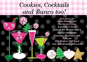 Bunco Cookie Swap Exchange Holiday Party Invitations - Printable or Printed