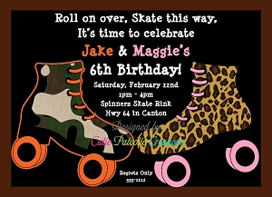 Camouflage Leopard Roller Skating Party Invitations - Printable or Printed