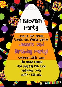 Candy Corn Halloween Party Invitations - Printable or Printed