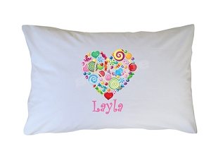Personalized Candy Heart Pillow Case for Kids, Adults and Toddler