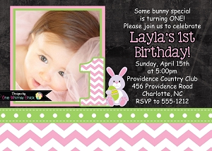 Pink Chevron Chalkboard Easter Bunny Birthday Invitations with Photo