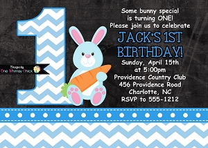 Blue Chevron Chalkboard Easter Bunny Birthday Invitations