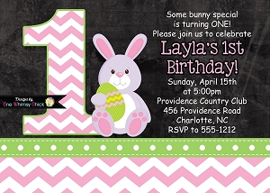 Pink Chevron Chalkboard Easter Bunny Birthday Invitations