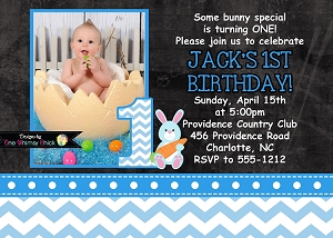 Blue Chevron Chalkboard Easter Bunny Birthday Invitations with Photo