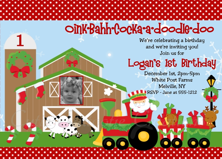 christmas farm birthday invitation