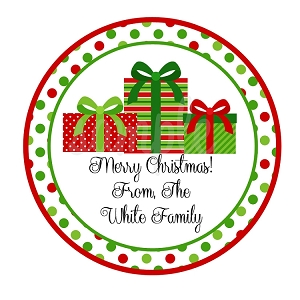 Personalized Wrapped Christmas Presents Stickers, Monogrammed Holiday Gift Tags