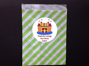 Bounce House Circus Party Favor Bags and Personalized Stickers