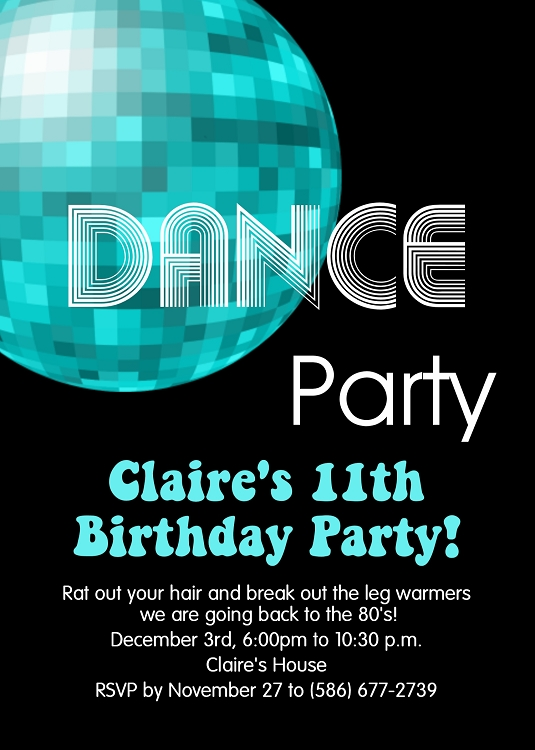 70s And 80s Disco Dance Birthday Party Invitations