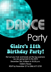 70's and 80's Disco Dance Birthday Party Invitations - Printable or Printed