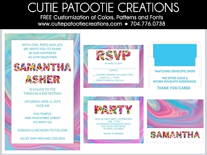 Candy Theme Bat Mitzvah Birthday Invitation