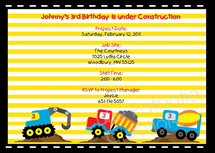 Under Construction Vehicles Birthday Party Invitations Printable