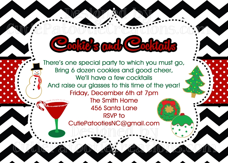 Christmas Cookie Party Invite.Cocktails And Cookies Exchange Swap Party Invitation Printable Or Printed