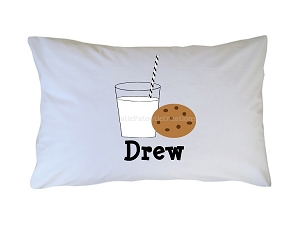 Personalized Cookies and Milk Pillow Case for Kids, Adults and Toddler
