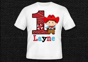 Cowboy Birthday Shirt Personalized with Name and Age