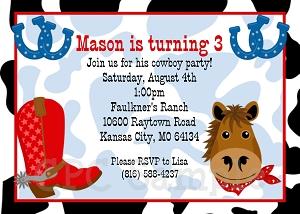 Western Cowboy Birthday Party Invitations