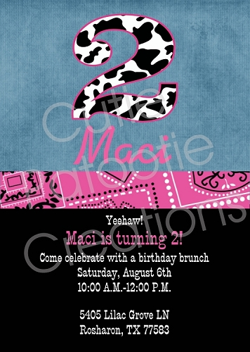 Cow Print Cowgirl Birthday Invitations, Printable or Printed