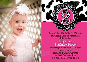 Cow Print Photo 1st Birthday Party Invitations