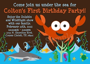 Nautical Crab Aquarium Birthday Party Invitation - Printable or Printed