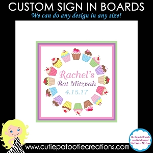 Cupcake Bat Mitzvah Sign in Board or Sign in Pillow
