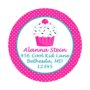 Personalized Camp Labels and Stickers - Pink Cupcake