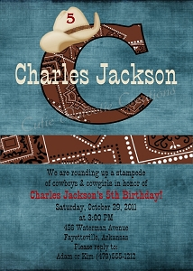 Cowboy Birthday Invitations | Western Birthday Party Invitations - Printable or Printed