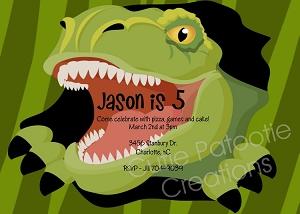 T Rex Tyrannosaurus Birthday Party Invitation