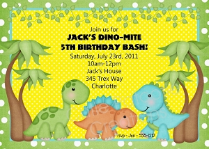 Dinosaur Birthday Invitation - Printable or Printed