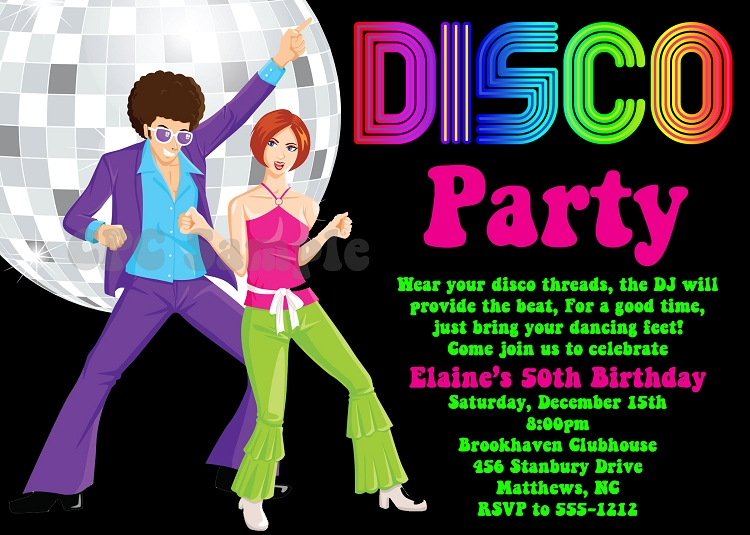 70 s disco dance party birthday invitations printable or printed