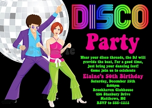 70's Disco Dance Party Birthday Invitations - Printable or Printed