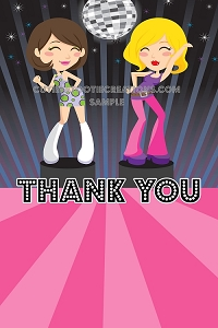 Disco Dance Party Thank You Cards - Printable or Printed