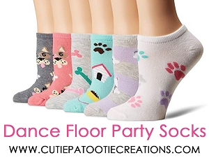 Dance Floor Party Socks for Mitzvahs, Weddings and Sweet 16 - Dog Theme