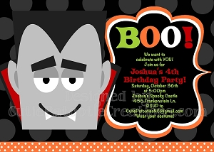 Dracula Halloween Party Invitations - Printable or Printed