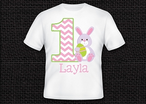 Personalized Easter Bunny Birthday T-Shirt or Onesie for Girls ANY AGE